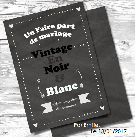 un faire part de mariage vintage en noir blanc locadeco. Black Bedroom Furniture Sets. Home Design Ideas