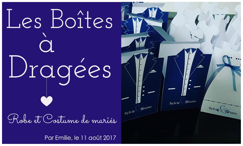 * Les boîtes à dragées robe et costume de mariés *