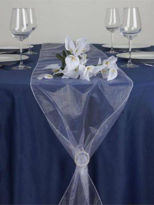 chemin de table en organza blanc