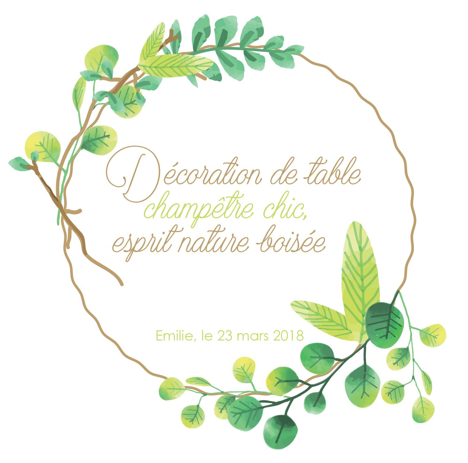 D coration de table champ tre chic esprit nature bois e - Deco salon nature ...