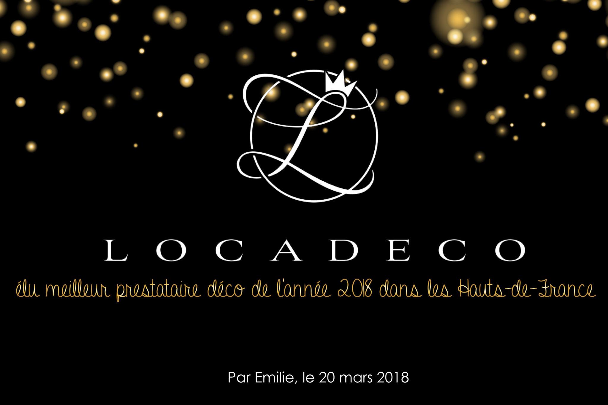 Locadéco, élu meilleur prestataire déco de l'année 2018 dans les Hauts-de-France